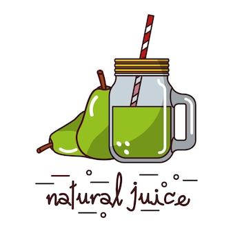 Poire et jus de verre naturel et paille