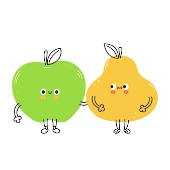 Poire et pomme drôles mignons