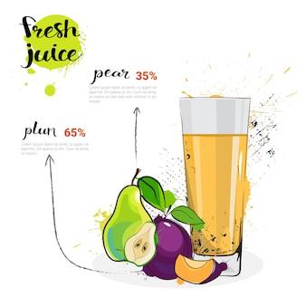 Poire, prune, mélange, cocktail, de, jus frais, aquarelle, dessiné, fruits, et, verre, sur, fond blanc