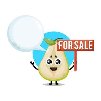 Poire à vendre mascotte de personnage mignon