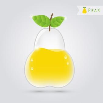 Poire en verre avec du jus de poire à l'intérieur
