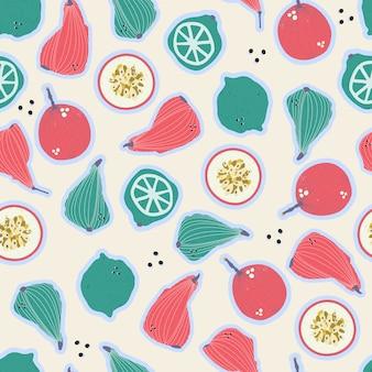 Poires dessinées à la main colorées, fruits de la passion, citrons et limes modèle sans couture