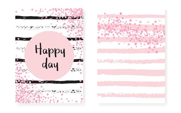 Pois pailletés roses avec sequins. cartes d'invitation de mariage et de douche nuptiale sertie de confettis. fond de rayures verticales. points de paillettes roses à la mode pour la fête, l'événement, enregistrez le flyer de la date.