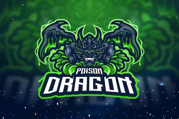Poison dragon esport mascotte logo design