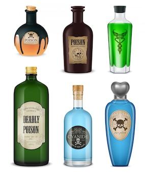 Poison réaliste coloré et isolé défini différentes formes couleurs et styles illustration vectorielle