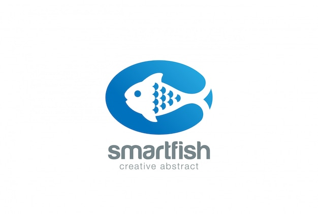 Poisson abstrait poisson sur plat logo vector icon