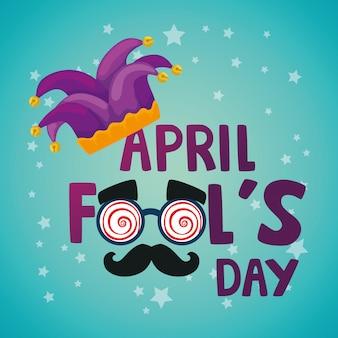 Poisson d'avril avec chapeau de bouffon et masque fou