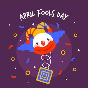 Poisson d'avril avec clown et confettis