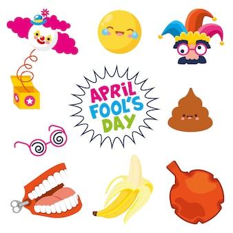 Poisson d'avril avec visage de bande dessinée de caca de banane boîte surprise isolé. illustration