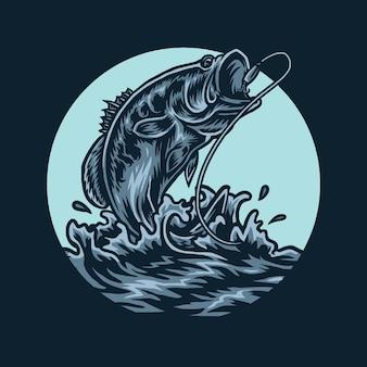 Poisson basse, sauter, attraper, ligne pêche, illustration