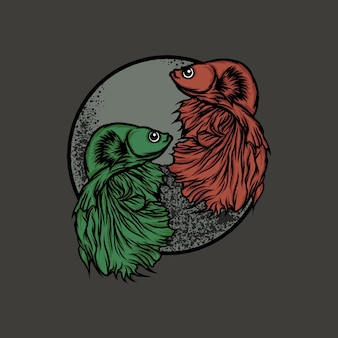 Poisson betta vert et illustration de poisson betta orange