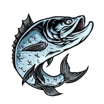 Poisson carnassier pour mascotte de club de pêche