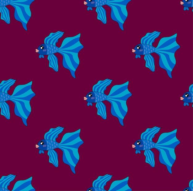 Poisson combattant siamois sur fond violet