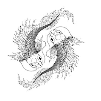 Un poisson croquis dessiné à la main, ying et yang