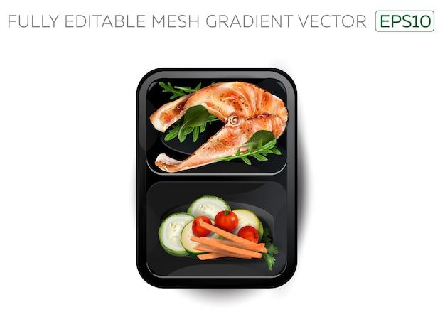 Poisson cuit à la vapeur avec des légumes dans une boîte à lunch.
