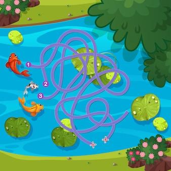 Poisson dans le modèle de jeu de labyrinthe de l'étang
