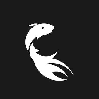 Poisson dégradé coloré design noir blanc