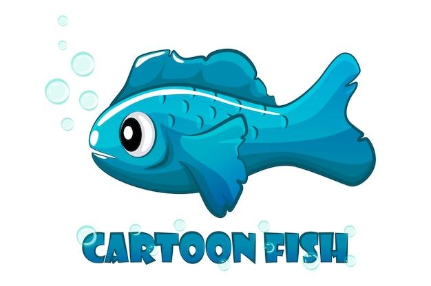 Poisson de dessin animé bleu nage dans l'eau.