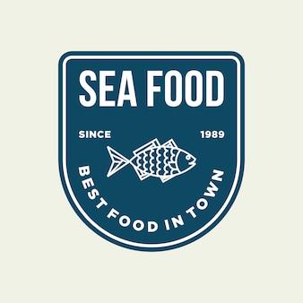 Poisson de fruits de mer pour la conception de logo de ligne de restaurant