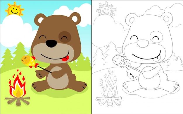 Poisson grillé avec dessin d'ours mignon
