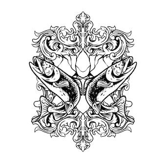Poisson jumeau avec illustration d'ornement