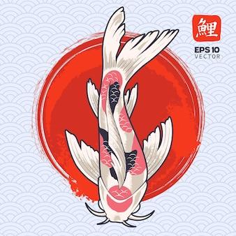 Poisson Koi Sur Cercle Rouge Peint. Carpe Japonaise. Vecteur Premium