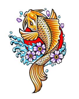 Poisson koi d'or avec des fleurs et des éclaboussures d'eau en cercle rouge. art de vecteur de style de tatouage japonais.