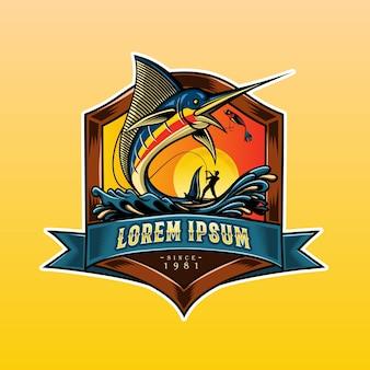 Poisson marlin logo style bois vintage