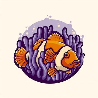 Poisson nemo à l'anemon