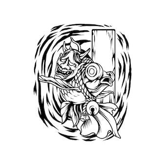 Poisson d'or avec la silhouette du masque du diable