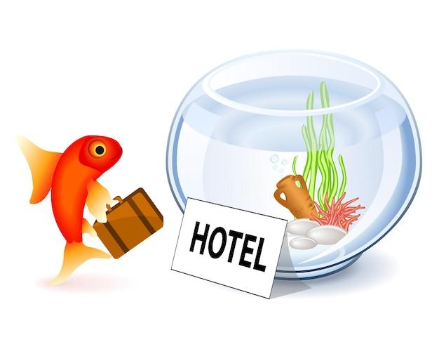 Poisson rouge arrivant à l'hôtel