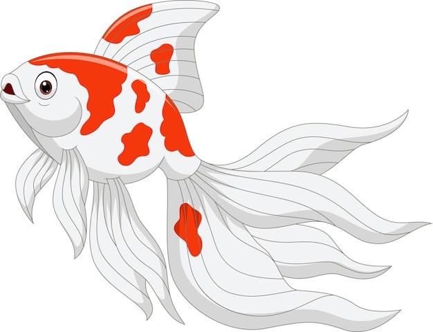 Poisson rouge de dessin animé sur un blanc