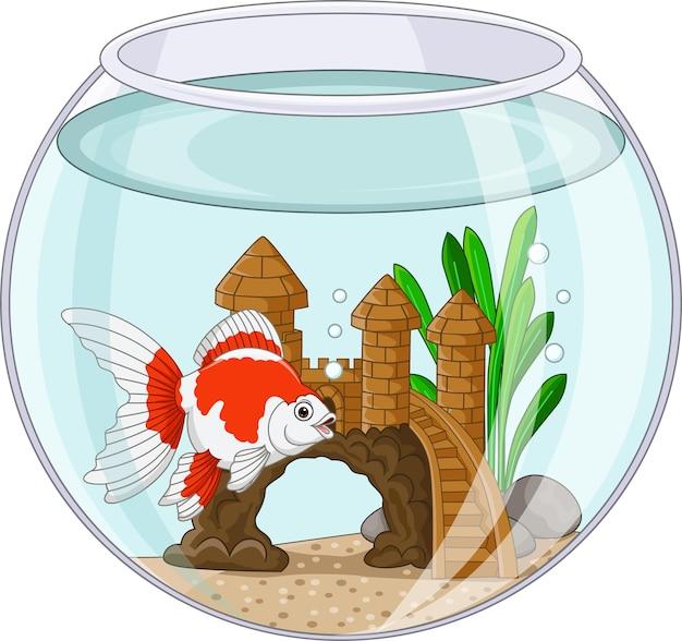 Poisson rouge de dessin animé nageant dans un bocal à poissons