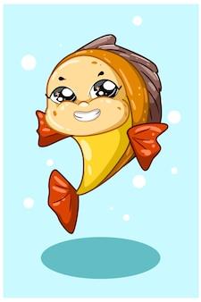 Un poisson rouge jaune souriant