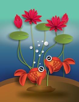 Poisson rouge à l'orange avec balles et lotus