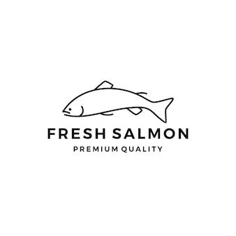 Poisson saumon logo étiquette de fruits de mer insigne vecteur autocollant télécharger