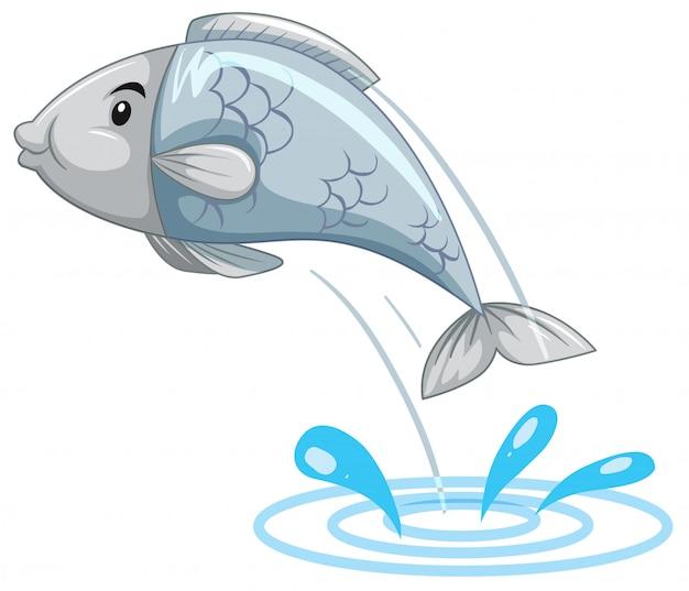 Poisson simple sautant de l'eau
