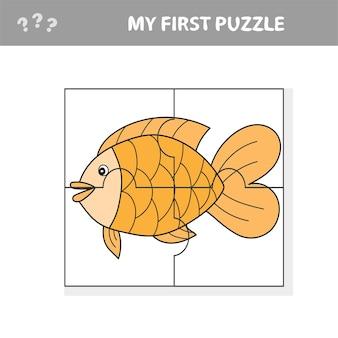 Poisson en style dessin animé, jeu éducatif pour le développement des enfants d'âge préscolaire, découpe des parties de l'image - mon premier puzzle