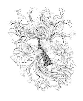Poisson thaïlandais avec le vecteur de lotus sur fond blanc