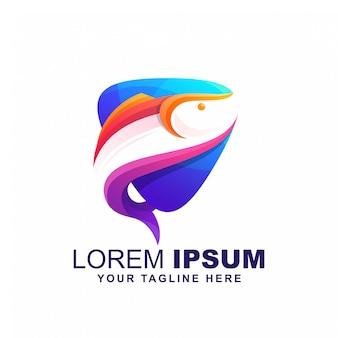 Poisson volant jouer vecteur de conception logo coloré logo