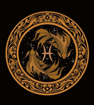 Poissons du zodiaque poissons sur ornement de gravure de cercle