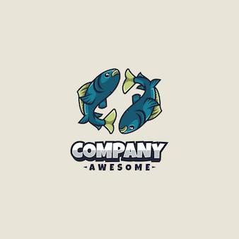 Poissons logo mascotte