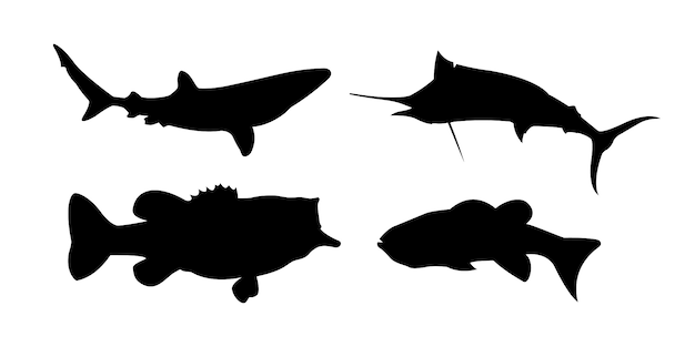 Poissons mer silhouettes