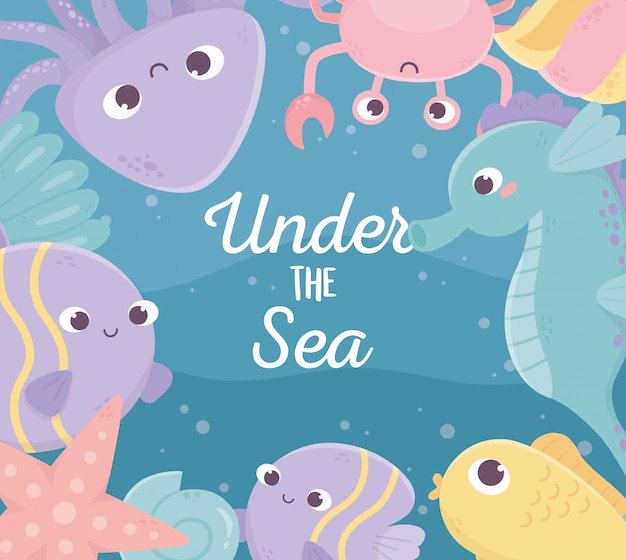 Poissons poulpe crabe étoiles de mer coquille hippocampe vie dessin animé sous la mer