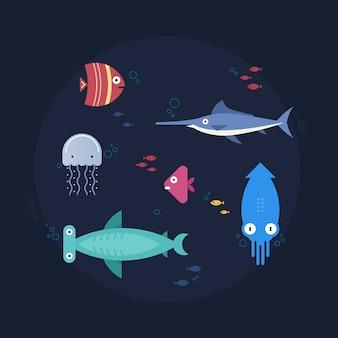 Poissons pour concepteur créatif, set 1. illustration vectorielle design plat