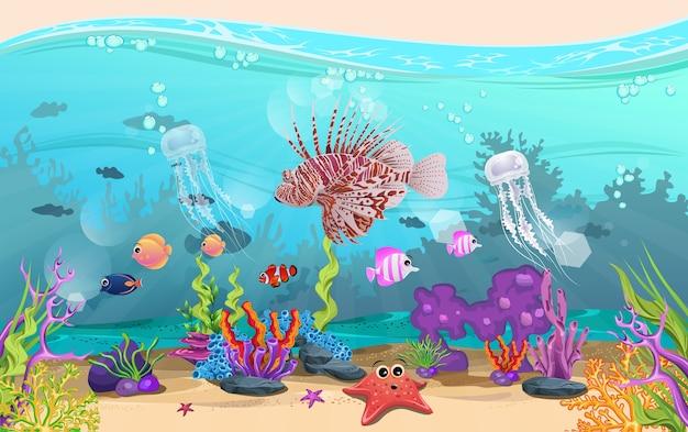 Poissons et récifs coralliens dans la mer