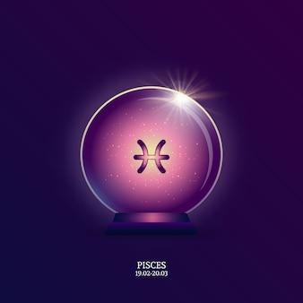 Poissons. signe de l'horoscope. icône du zodiaque en boule magique