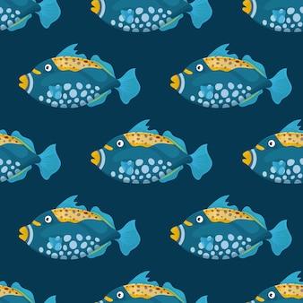 Poissons tropicaux mignons sur fond sombre. poisson de mer aux couleurs vives. vie sauvage marine sous-marine. modèle sans couture.