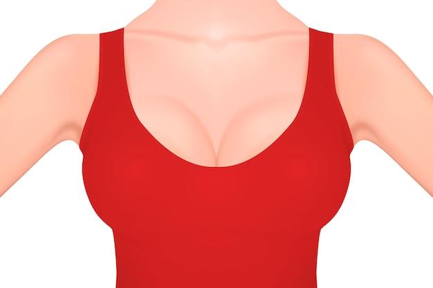 Poitrine de femme réaliste dans un gros plan de débardeur rouge isolé sur fond blanc