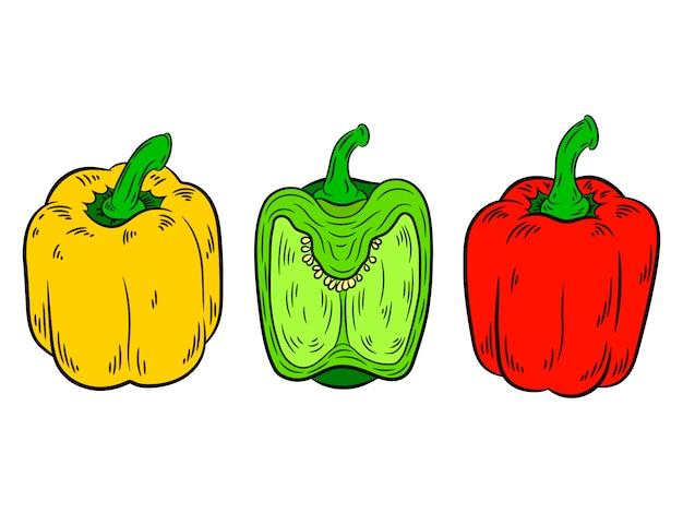 Poivre vintage rouge, vert, jaune.
